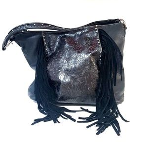 MONTANA WEST Tooled Vegan Leather Fringe Bag